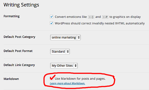 Where to activate Markdown in WordPress.com