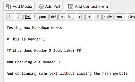 Using Markdown to create headers in WordPress