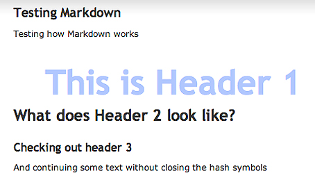 Showing the results of creating headers using Markdown