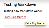 Showing how a Markdown link will look in preview