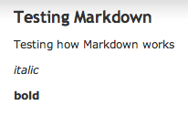 Showing how Markdown works