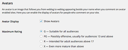 Allowing avatars to be shown and which category