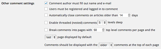Other comment settings in the Settings Discussion page