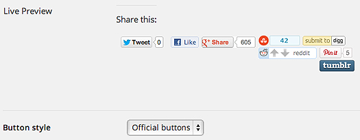 Official Sharing Button option
