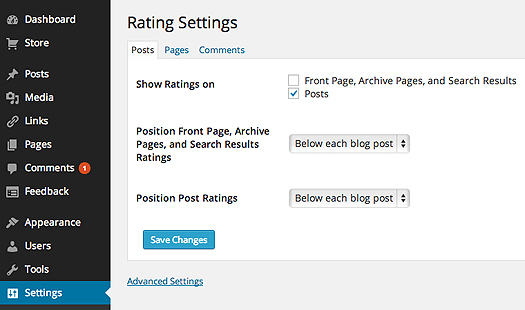 Where to find Ratings in Settings
