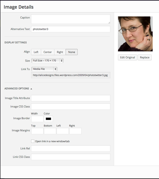 WordPress.com Image Detail menu showing margin width features