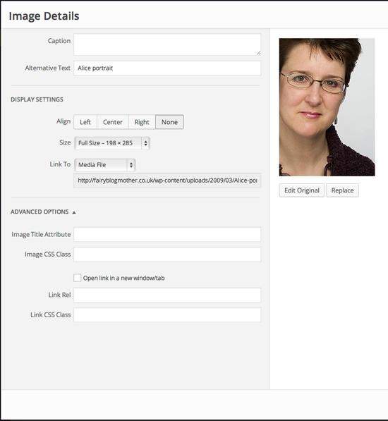 WordPress.org Image Detail menu withdrawn margin width control
