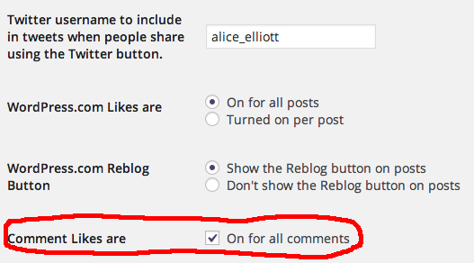 Activate the Comments Like feature