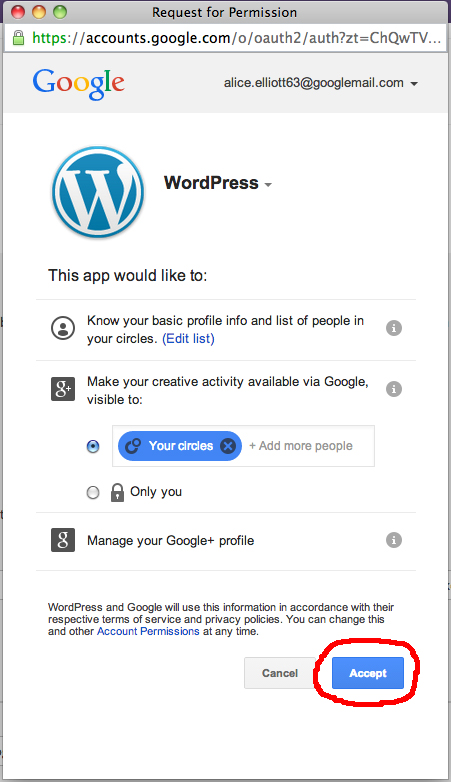 Connecting WordPress to Google