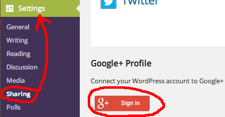 Google Plus Button in Settings Sharing