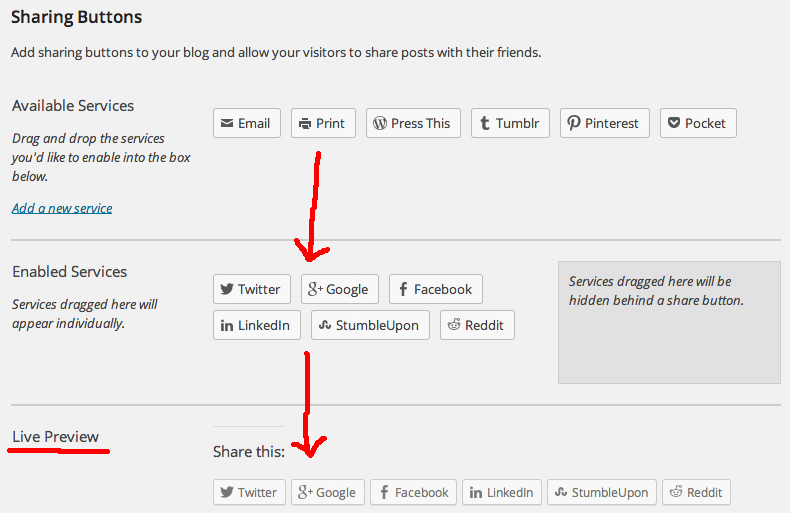 social sharing buttons available in WordPress.com