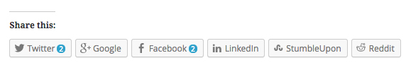 Social sharing buttons offered by WordPress.com