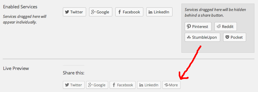 How to place social sharing buttons behind a collective more button
