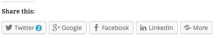 Social sharing buttons including more button in WordPress.com