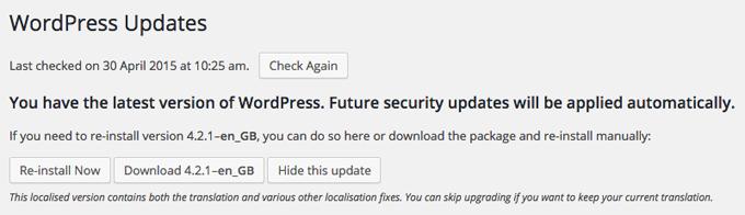 WordPress is updated