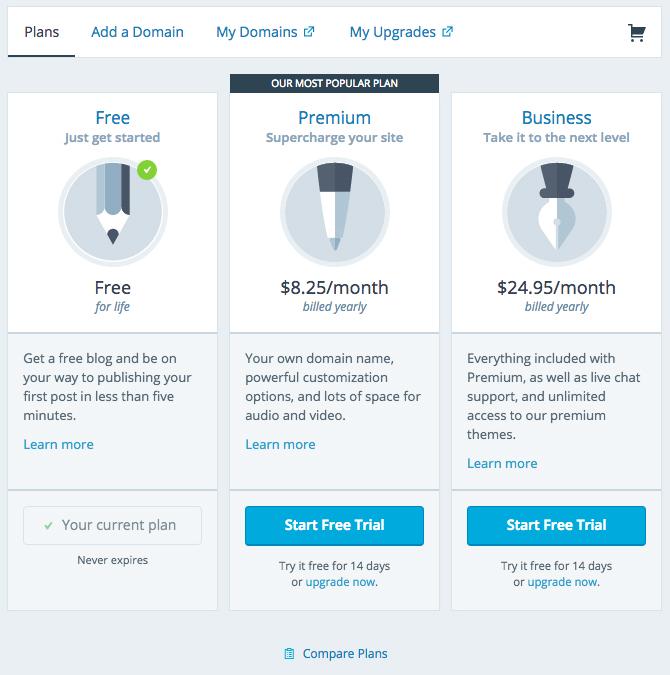 WordPress upgrade options