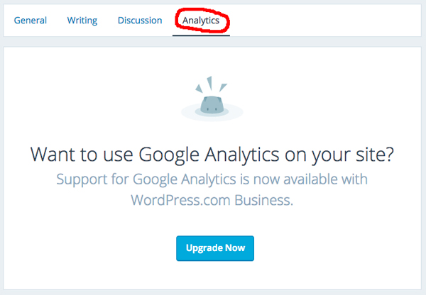 Click on Analytics to bring up the upgrade option