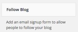Follow blog widget