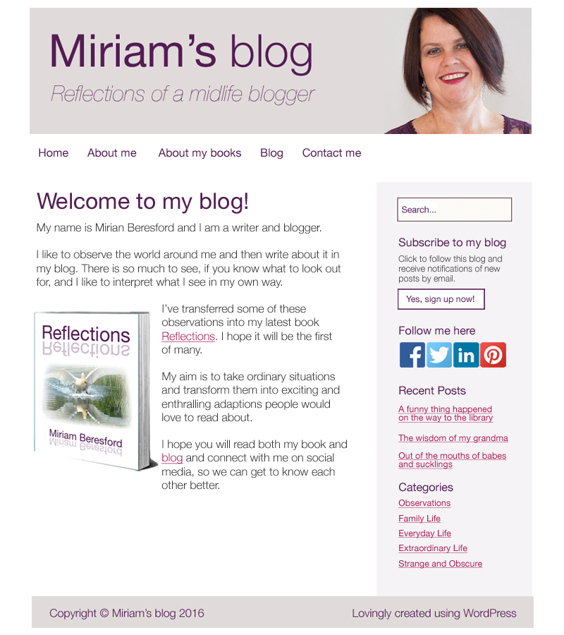 Miriam's new website and blog