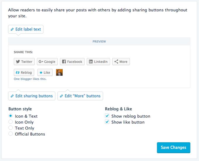 Modern sharing buttons feature
