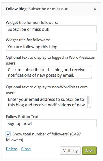 Opened subscription widget