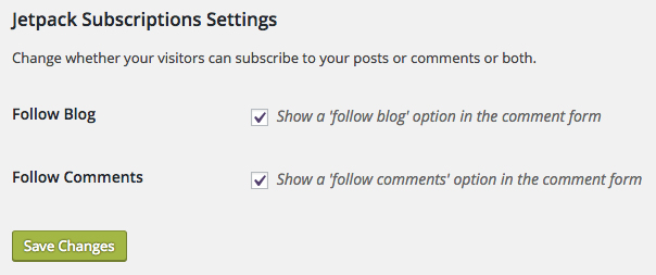 Subscription Settings underneath comment box