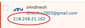 IP address of spammer