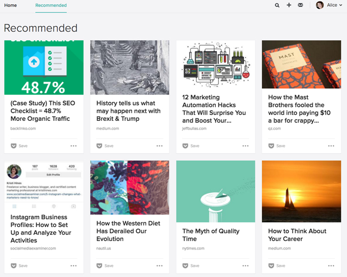 Pocket's Recommendations